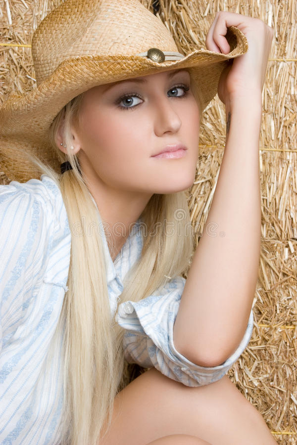 Pretty Cowgirl Stock Image. Image Of Wearing, Cowgirl