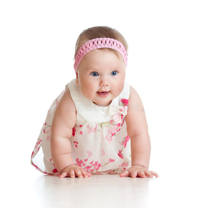 Download Pretty Crawling Baby Girl On White Background Stock Photo - Image: 26220664