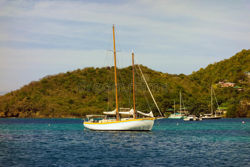 A pretty cruising yacht in the caribbean royalty free stock photography