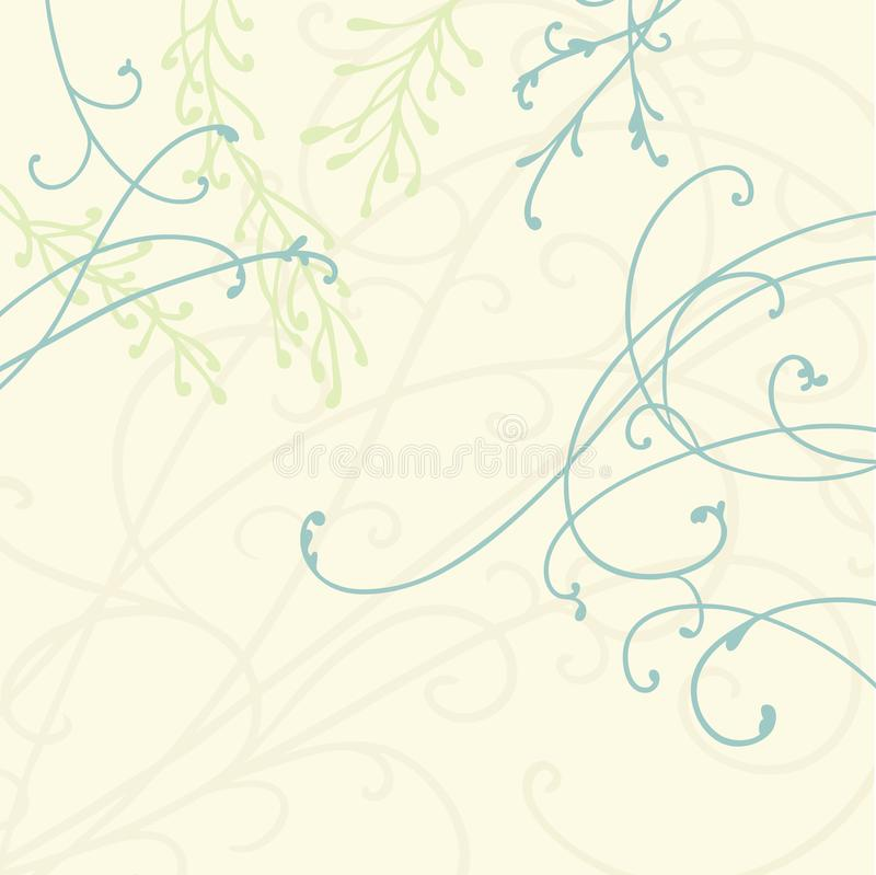 Pretty curls and flourishes in blue on beige background with green fern plants and leaves, graceful floral vector design stock illustration