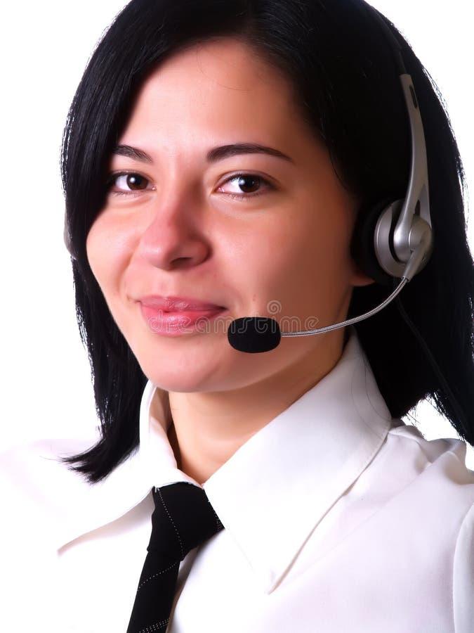 Pretty customer service representative lady royalty free stock photo