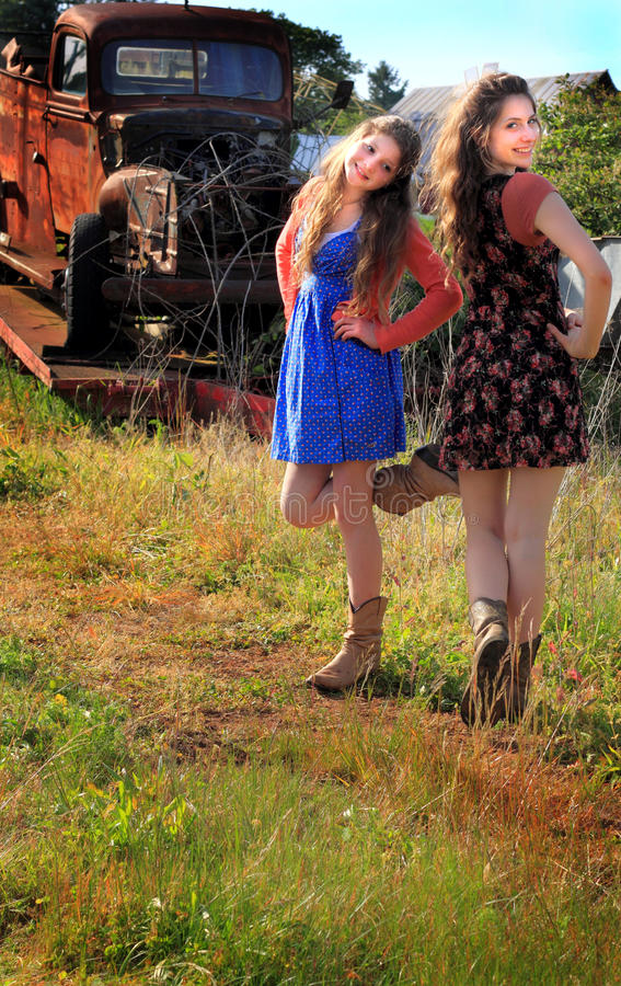 Pretty Dancing Country Girls stock photo