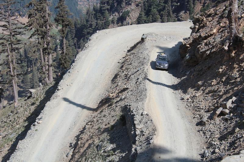 View of dangerous curvy roads in the Himalayas of Pakistan. stock image
