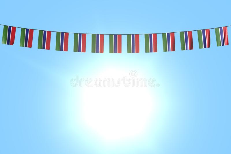 Pretty day of flag 3d illustration - many Gambia flags or banners hanging on string on blue sky background. Nice many Gambia flags or banners hangs on string on royalty free illustration