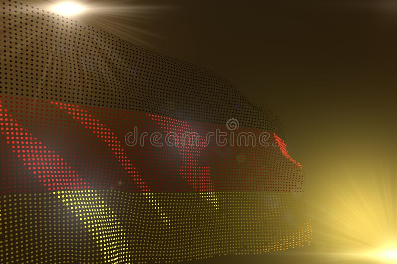 Pretty digital illustration of Germany flag made of dots waving on yellow with empty space for your text - any holiday flag 3d royalty free illustration