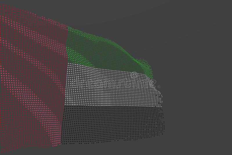 Pretty digital illustration of United Arab Emirates isolated flag made of glowing dots wave on grey background - any holiday flag royalty free illustration