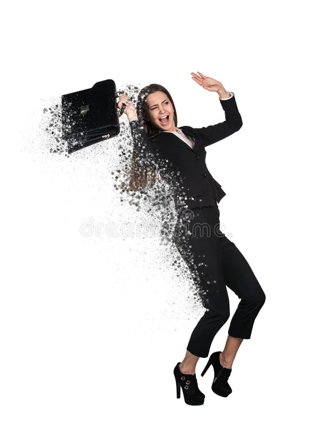 Pretty disappear businesswoman. On white background royalty free stock photos
