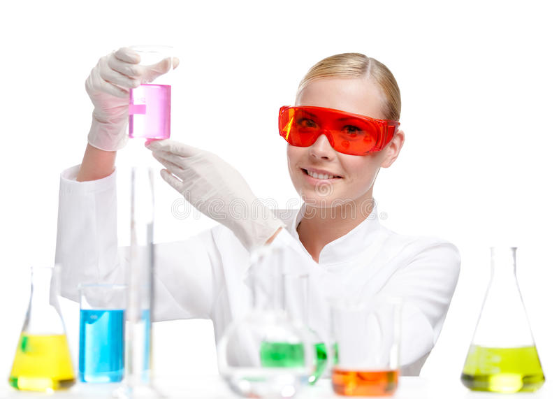 Pretty Doctor Hands A Beaker Stock Image