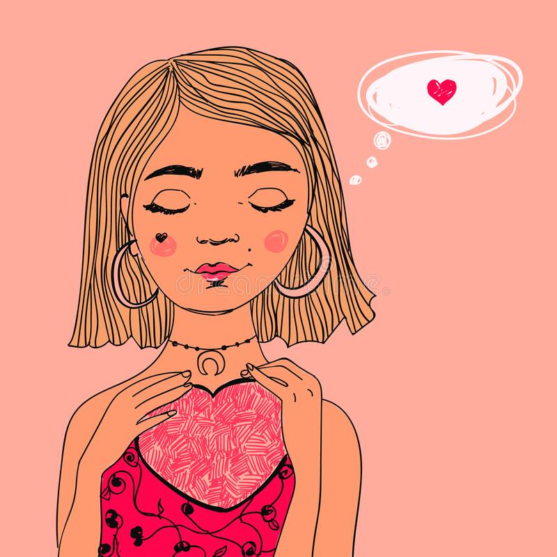 Pretty dreaming girl in love with heart shape in her hands. Vector romantic Valentine`s day colorful illustration. Pretty dreaming girl with bob haircut in love vector illustration