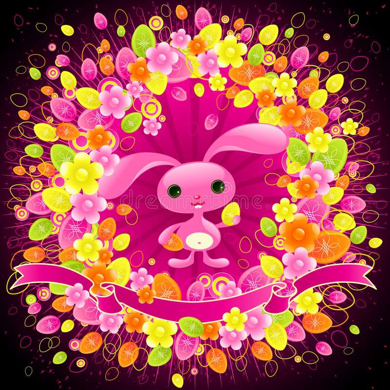 Pretty Easter bunny. stock illustration