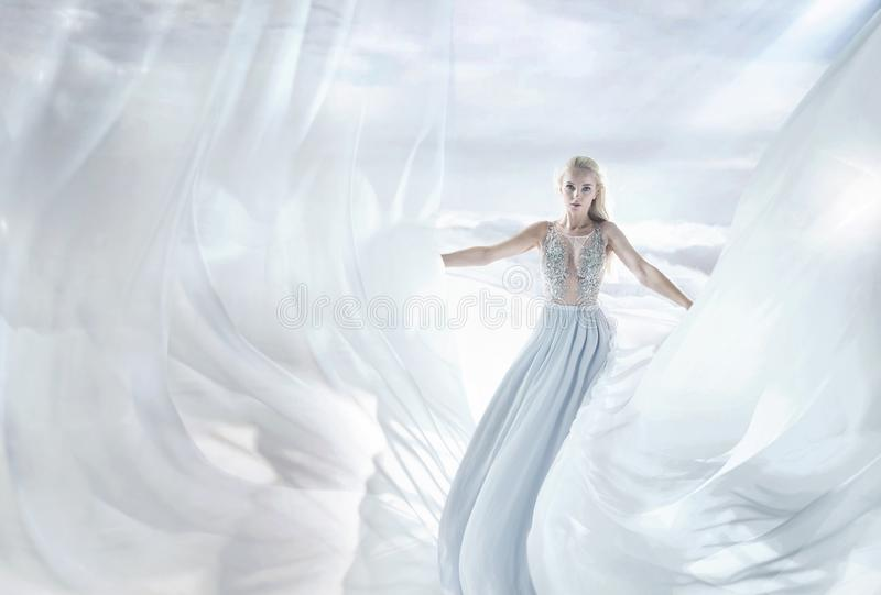 Pretty, elegant blonde in a fairy place royalty free stock photography