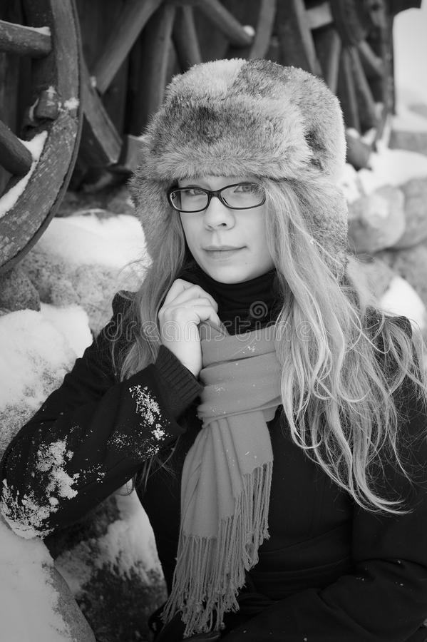 Download Pretty Elegant Woman In Winter Retro Background Stock Image - Image: 23433115