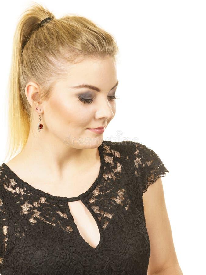 Pretty elegant young woman model stock image