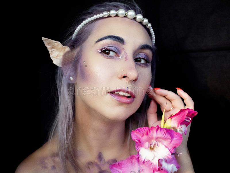 Pretty elf with cute ears stock photography