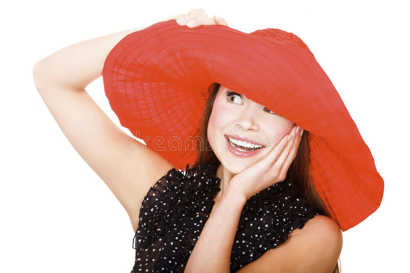 Pretty Excited  Woman In Red Hat Royalty Free Stock Image