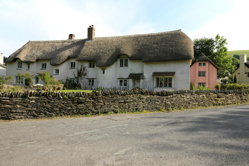 Pretty Exmoor house. Pretty thatched cottage in a small Exmoor village in Somerset royalty free stock photos
