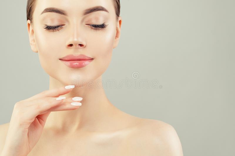 Pretty face closeup. Beautiful woman spa portrait royalty free stock photography