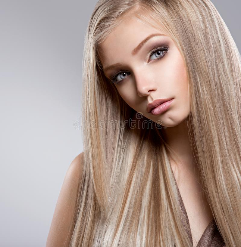 Pretty  face of teen girl with long white hair royalty free stock images