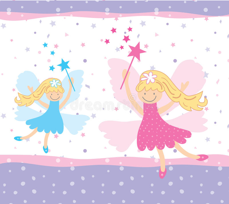 Pretty fairies. Pretty floating fairies pink and blue royalty free illustration
