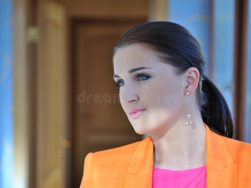 Download Pretty Fashion Woman In Bright Clothes Indoors Royalty Free Stock Image - Image: 20014986