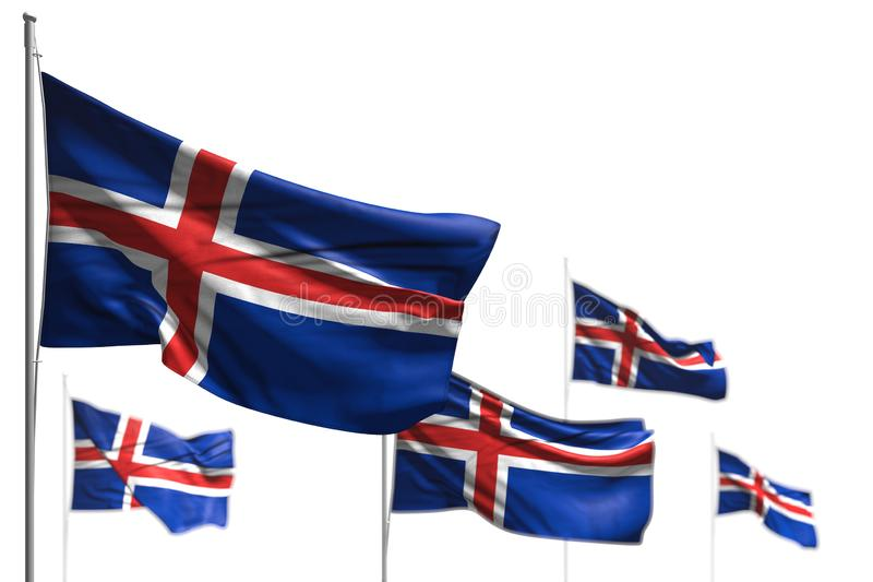 Wonderful five flags of Iceland are wave isolated on white - picture with selective focus - any holiday flag 3d illustration. Pretty feast flag 3d illustration stock illustration