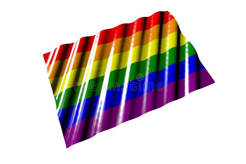 Pretty feast flag 3d illustration - glossy flag of Gay Pride with big folds lying isolated on white, perspective view. Beautiful shiny flag of Gay Pride with stock illustration