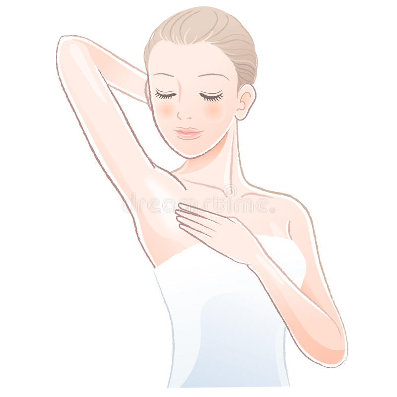 Pretty female gently touching and looking her clean armpit. File contains Gradients, Transparency, Blending Tooll(expanded stock illustration