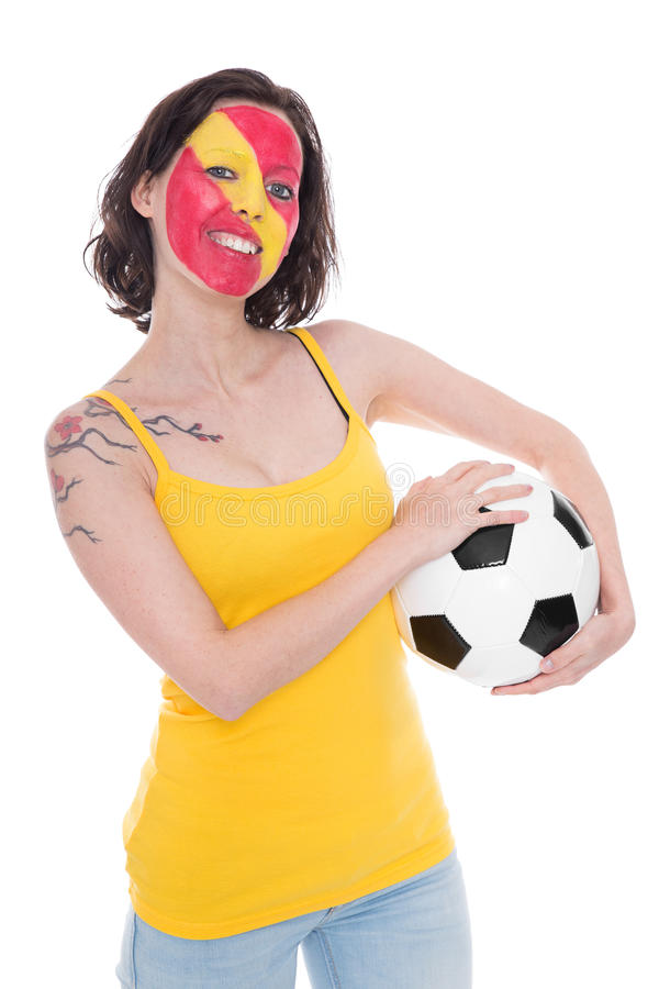 Pretty female soccer fan from the spanish national team royalty free stock photo