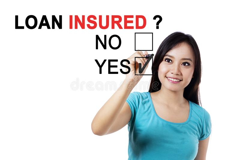 Pretty female with question of loan insured royalty free stock photo