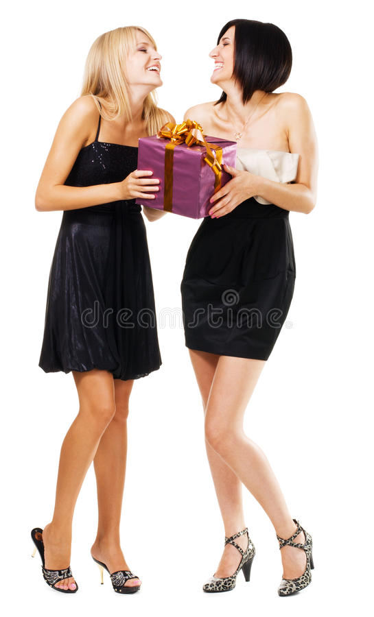 Download Pretty Festive Girls With A Gift Box Stock Image - Image: 16436213