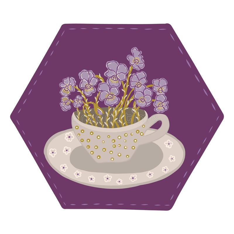 Pretty flower cup with bouquet of pansies. Hand drawn vector illustration stock illustration