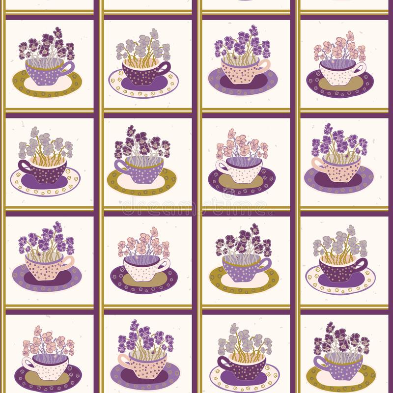 Pretty flower cup grid. Bouquet of pansy pattern. Seamless repeating. Hand drawn vector illustration. vector illustration