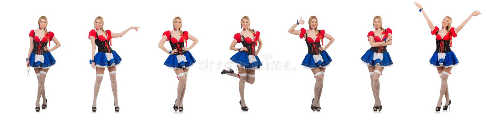 Pretty girl in bavarian dress isolated on white stock photo