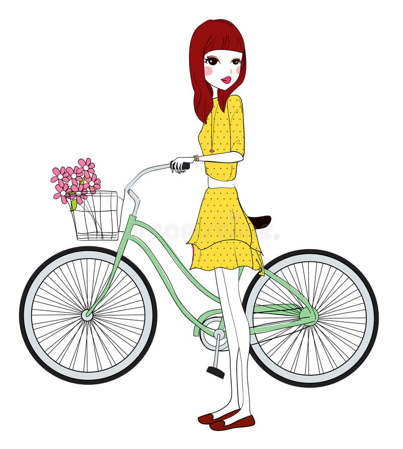 Download Pretty girl with bicycle stock vector. Illustration of cute - 33591862