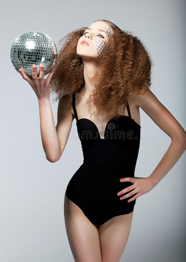 Download Pretty Girl In Black Body With Curly Hairs Stock Photo - Image: 25246290