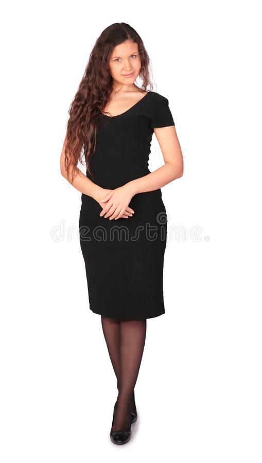 Pretty girl in black dress stock photography
