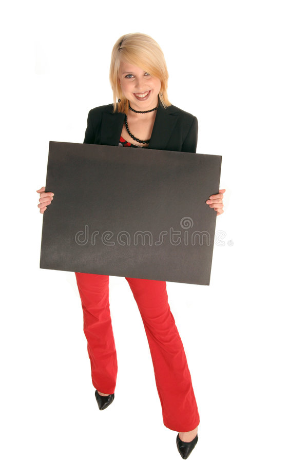 Pretty girl with black sign board stock image