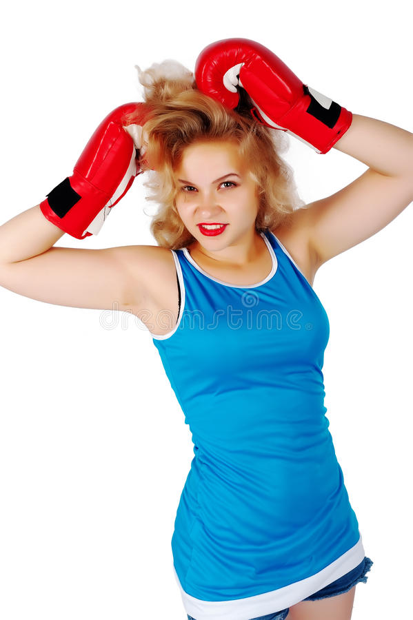 Download Pretty Girl With Boxing Gloves Royalty Free Stock Images - Image: 27600679