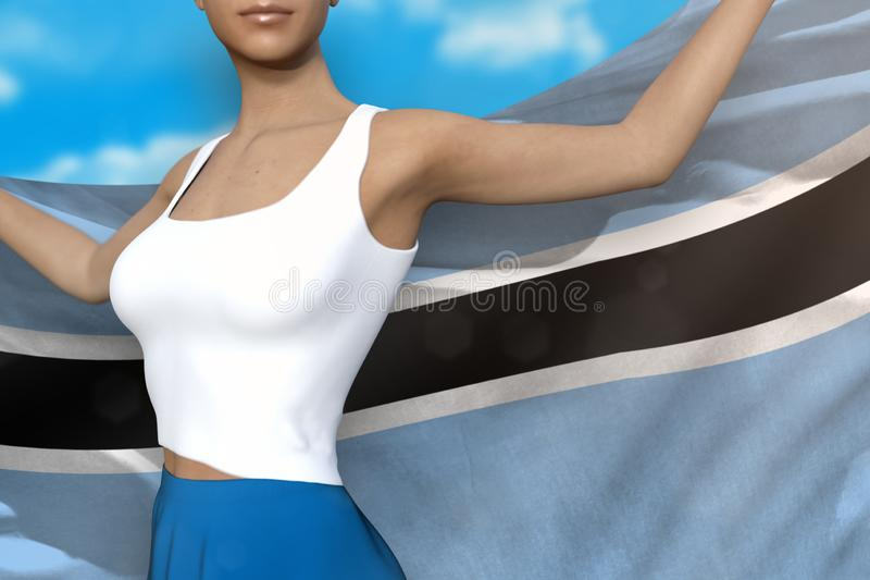 Sexy woman in bright skirt holds Botswana flag in hands behind her back on the cloudy sky background - flag concept 3d. Pretty girl in bright skirt is holding stock illustration