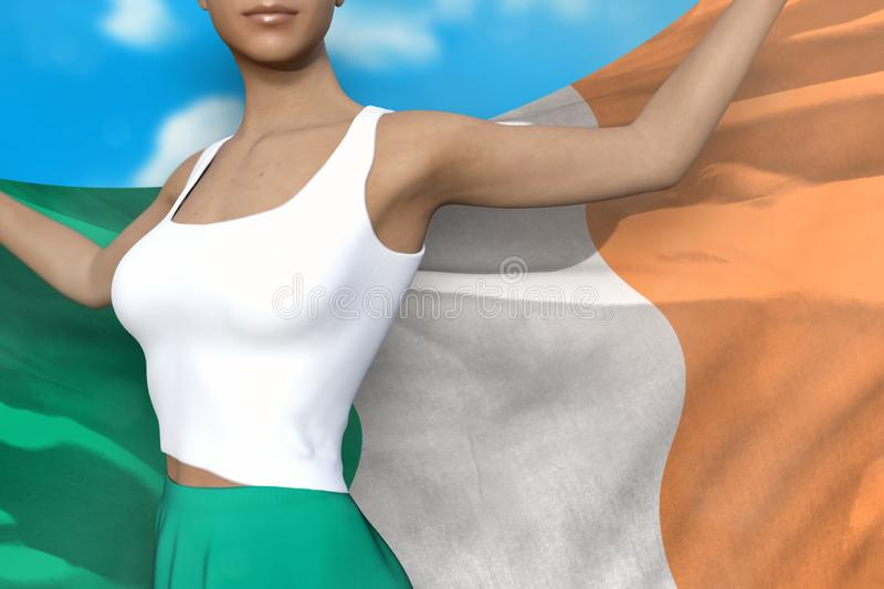 Pretty girl in bright skirt holds Ireland flag in hands behind her back on the cloudy sky background - flag concept 3d vector illustration