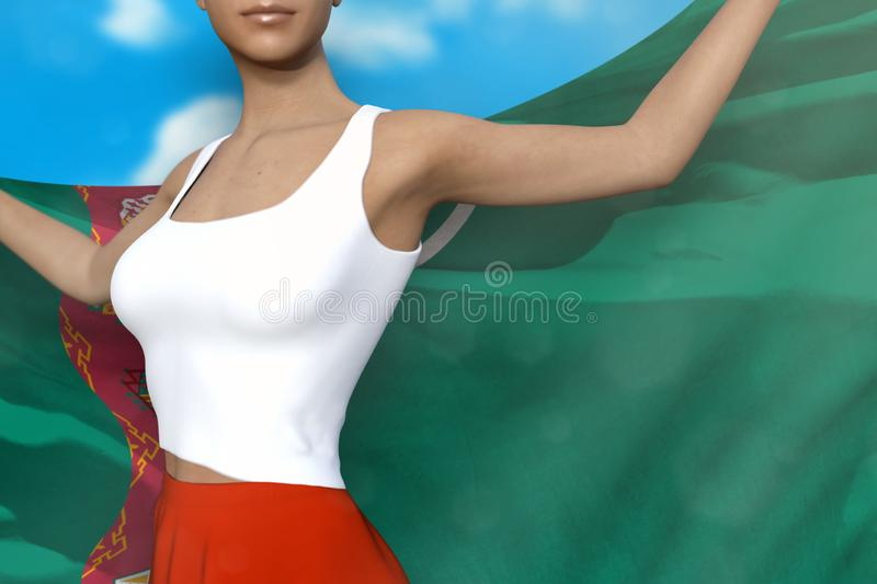 Sexy lady in bright skirt holds Turkmenistan flag in hands behind her back on the cloudy sky background - flag concept 3d. Pretty girl in bright skirt is holding vector illustration