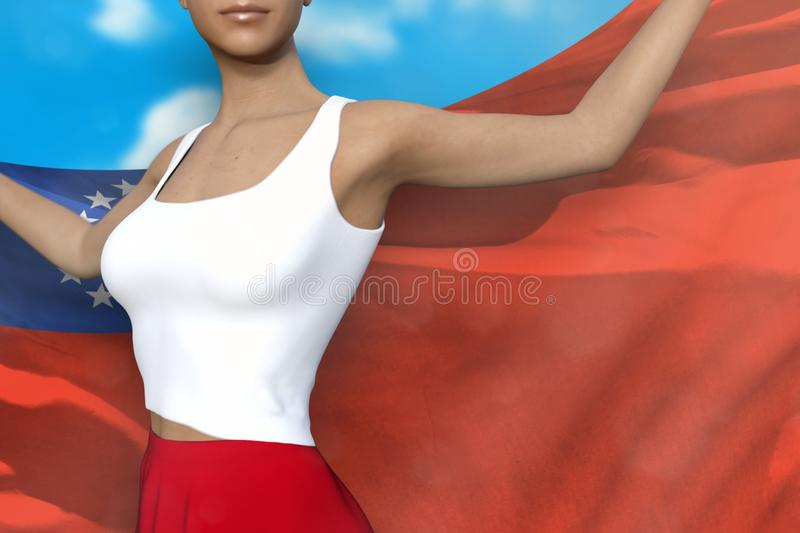 Pretty girl in bright skirt holds Myanmar flag in hands behind her back on the cloudy sky background - flag concept 3d. Pretty lady in bright skirt is holding stock illustration