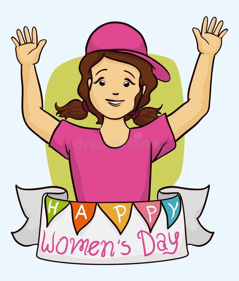 Pretty Girl Celebrating Women's Day, Vector Illustration stock photo