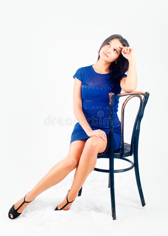 Download Pretty girl on chair stock image. Image of chair, looking - 21439491