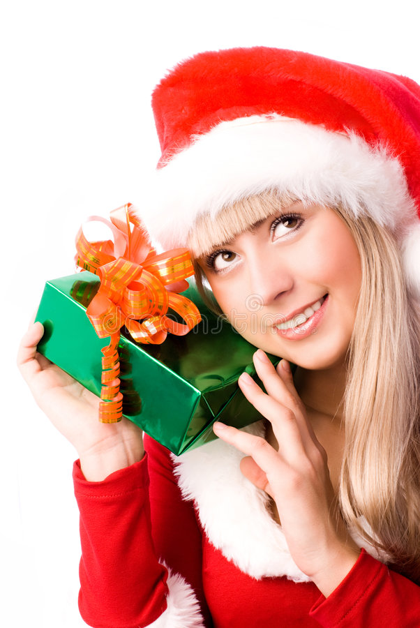 Pretty Girl With A Christmas Present Stock Images
