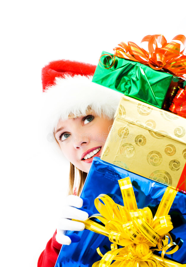 Download Pretty Girl With The Christmas Presents Stock Image - Image: 6817735