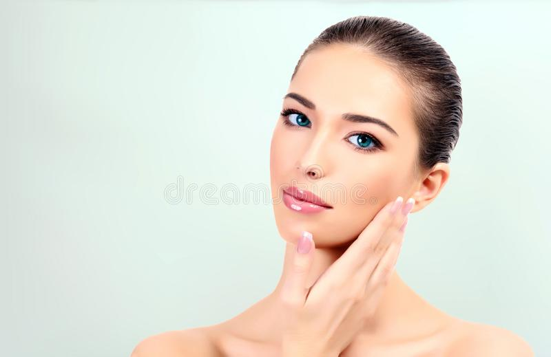 Pretty girl with clean and fresh skin royalty free stock images