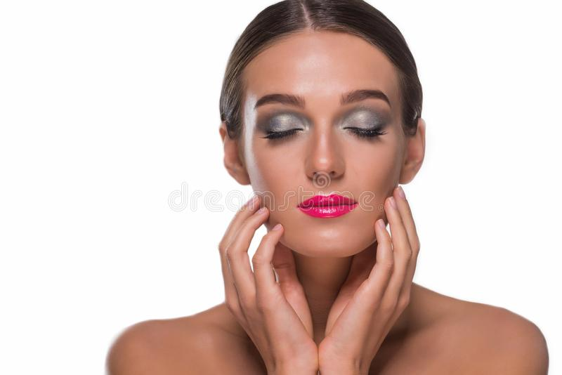 Pretty girl with closed eyes royalty free stock photo