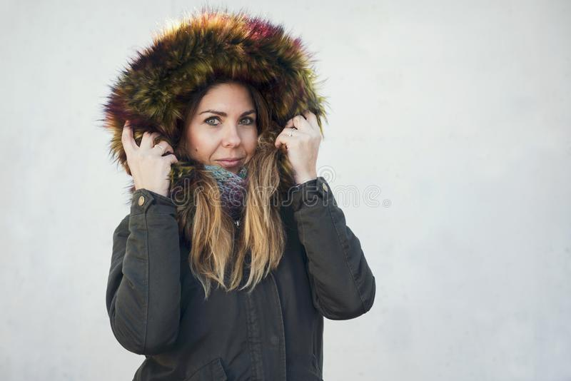 pretty girl with coat in winter stock photo