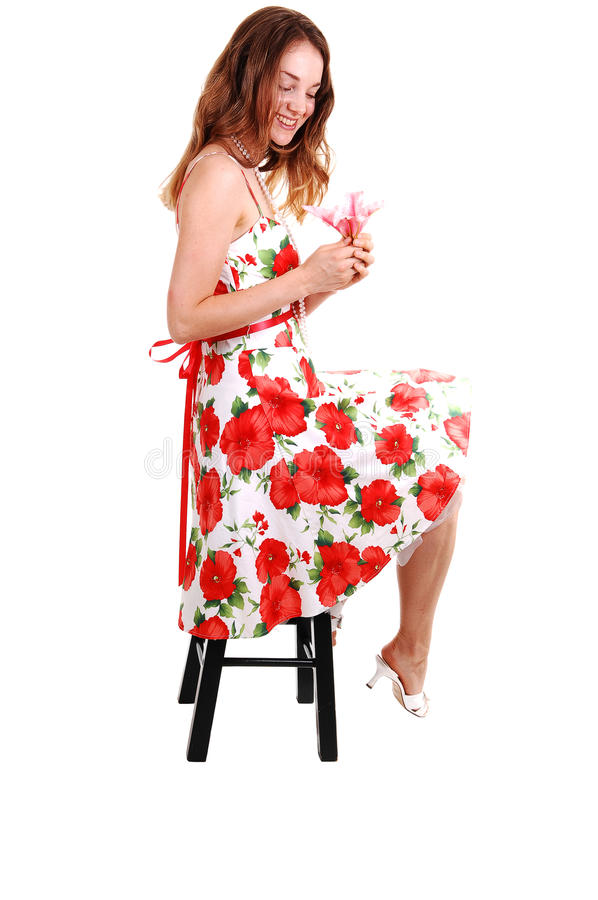 Pretty girl in colorful dress. stock photography